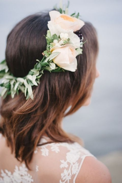 Rose and Wreath Floral Crown | Whiskers and Willow Photography | Sea Foam and Peach Coastal Wedding Inspiration