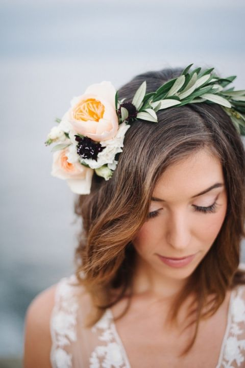 Olive Crown with Peach Roses | Whiskers and Willow Photography | Sea Foam and Peach Coastal Wedding Inspiration