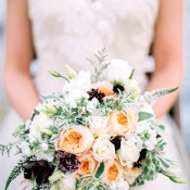 Peach and Fig Bouquet | Whiskers and Willow Photography | Sea Foam and Peach Coastal Wedding Inspiration