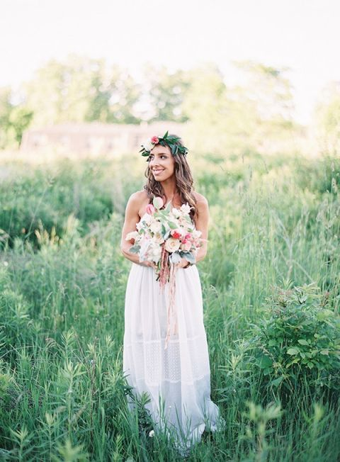 Sweet Bohemian Bride with a Flower Crown
