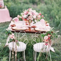 Sweetheart Table with Delciate Vintage Chairs | Emily Jane Photography | Summer Berry Boho Wedding Shoot