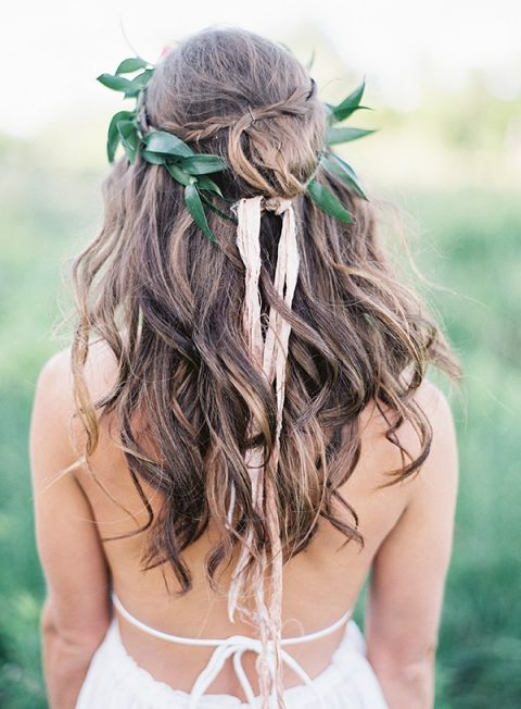 Loose Natural Curls with a Greenery Crown