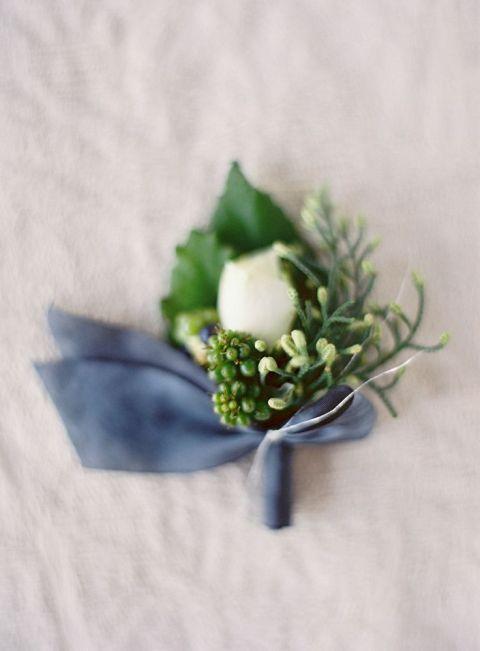 Blue Velvet Boutonniere | Jose Villa Photography | Slate Blue and Dusty Rose Wedding Ideas