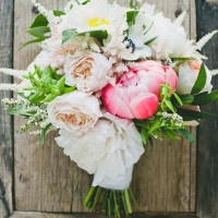 Lush Ivory and Coral Peony Bouquet | onelove photography | Stylish Rockstar Wedding at a Southern California Vineyard in Ivory, Coral, and Gold