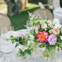 Fern and Peony Centerpiece | onelove photography | Stylish Rockstar Wedding at a Southern California Vineyard in Ivory, Coral, and Gold