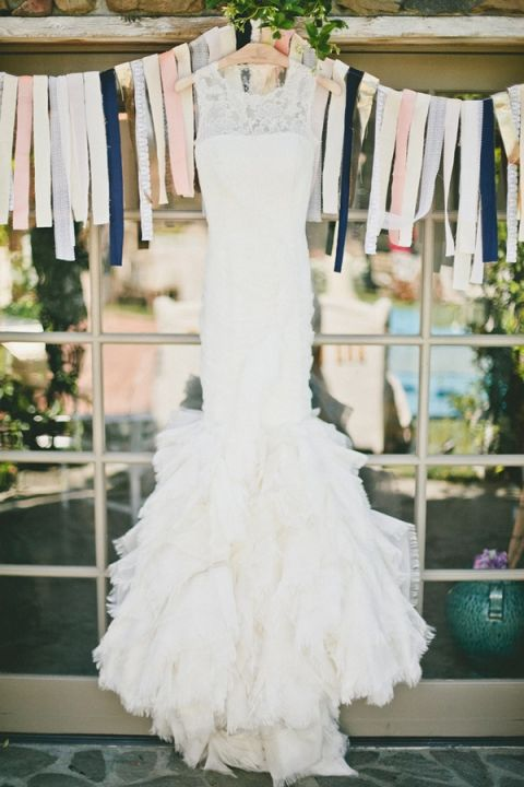 Ruffled Vera Wang Wedding Dress | onelove photography | Stylish Rockstar Wedding at a Southern California Vineyard in Ivory, Coral, and Gold