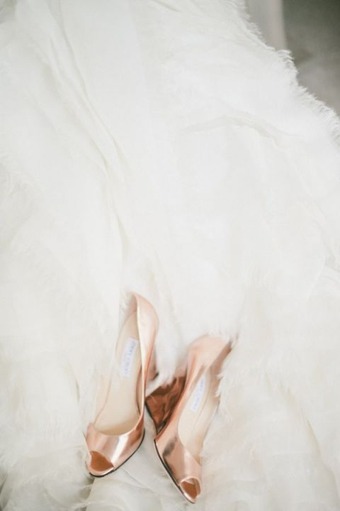 Rose Gold Jimmy Choo Wedding Shoes | onelove photography | Stylish Rockstar Wedding at a Southern California Vineyard in Ivory, Coral, and Gold