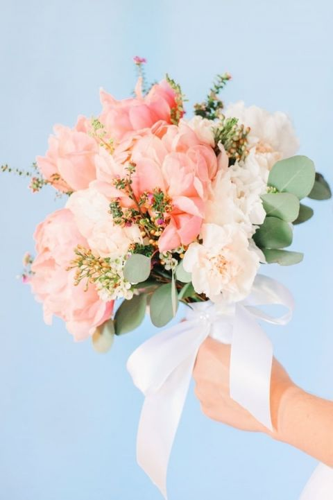 Pastel Blush and Ivory Bouquet   Pasha Belman Photography   Intimate Peony Pink Wedding in the South