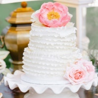 Ruffled Wedding Cake with a Peony Topper | Pasha Belman Photography | Intimate Peony Pink Wedding in the South