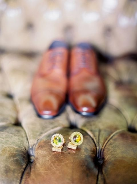 Citrine Cuff Links and Brown Leather Shoes   Pasha Belman Photography   Intimate Peony Pink Wedding in the South