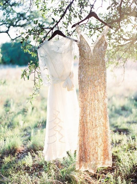 Vintage Lace and Gold Sequin Wedding Dress   Kristen Kilpatrick Photography   In the Golden Light of Summer Wedding