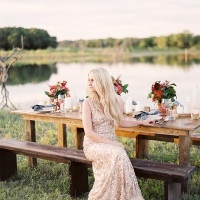 Bold Southwestern Inspired Table and a Gold Sequin Gown | Kristen Kilpatrick Photography | In the Golden Light of Summer Wedding