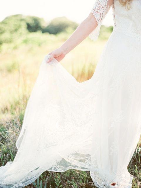 Claire Pettibone Lace Wedding Dress   Kristen Kilpatrick Photography   In the Golden Light of Summer Wedding