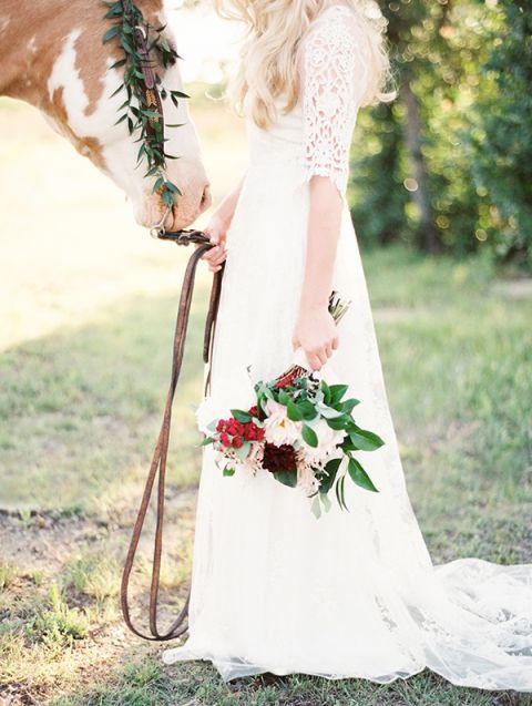 Lace Wedding Dress for an Equestrian Bride   Kristen Kilpatrick Photography   In the Golden Light of Summer Wedding