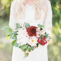 Burgundy and Blush Dahlia Bouquet | Kristen Kilpatrick Photography | In the Golden Light of Summer Wedding