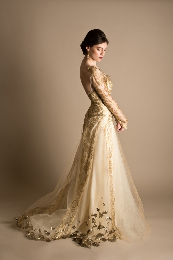 Dramatic bridal styling in red white and gold hey for White and gold wedding dresses