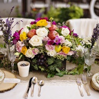 Colorful Fruit and Flower Cenerpiece | Andie Freeman Photography
