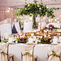 Colorful Indoor Garden Table with a Floral Installation | Andie Freeman Photography
