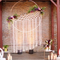 Macrame Hanging Tassel Ceremony Backdrop | Andie Freeman Photography