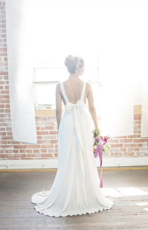 Blackless Wedding Dress with Lace Straps | Andie Freeman Photography