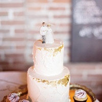 Simple Gold Leaf Flecked Wedding Cake | Andie Freeman Photography