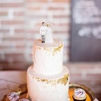 Simple Gold Leaf Flecked Wedding Cake | Andie Freeman Photography
