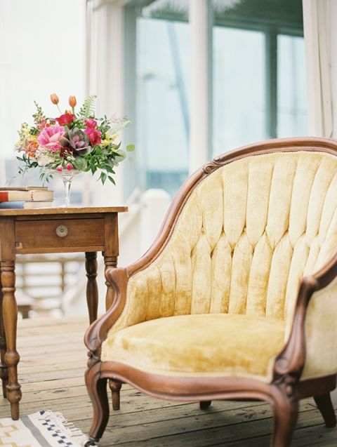 Gold Velvet Vintage Armchair | Audrey Norman Fine Art Wedding Photography