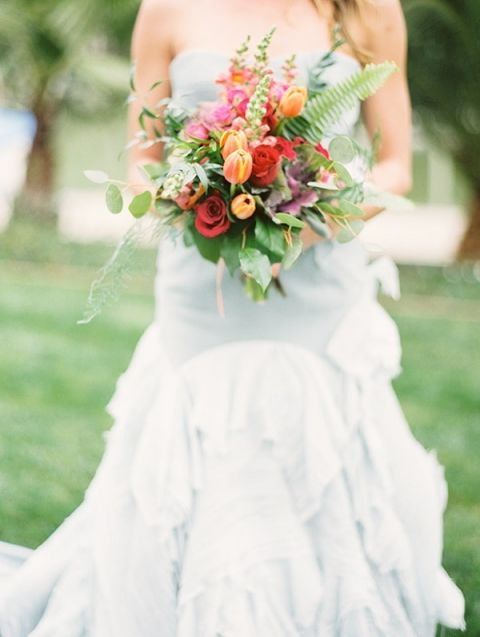 Dusty Blue Wedding Dress with a Colorful Summer Bouquet | Audrey Norman Fine Art Wedding Photography