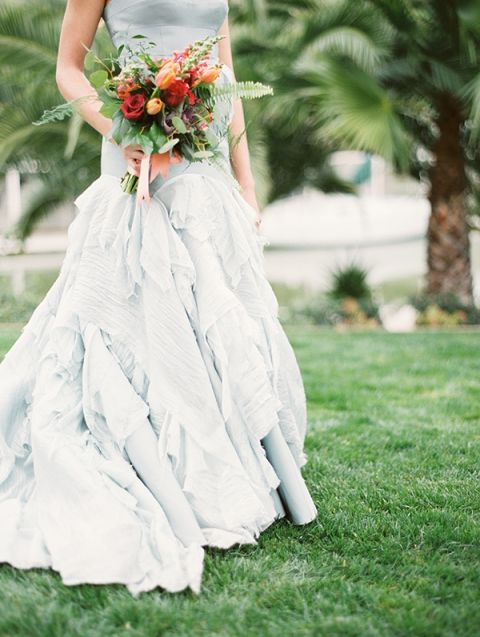 Layered Blue Tara la Tour Wedding Dress | Audrey Norman Fine Art Wedding Photography