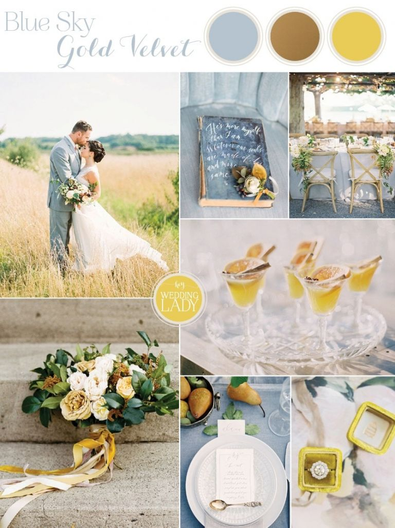 Sky Blue and Gold Velvet - California Summer Wedding Inspiration