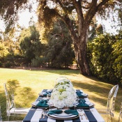 Chic Striped Head Table | Anna Delores Photography | Stripes and Sequins - Preppy Kate Spade Styled Wedding