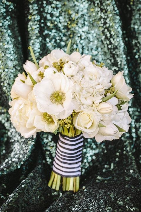 87e491d6b6a8 ... Kate Spade Styled All White Bouquet with Striped Ribbon