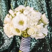 All White Bouquet with Striped Ribbon | Anna Delores Photography | Stripes and Sequins - Preppy Kate Spade Styled Wedding