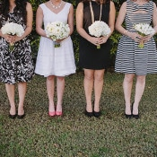 Bridesmaids in Black and White Lilly Pulitzer | Anna Delores Photography | Stripes and Sequins - Preppy Kate Spade Styled Wedding