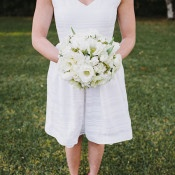 White Tea Length Wedding Dress | Anna Delores Photography | Stripes and Sequins - Preppy Kate Spade Styled Wedding