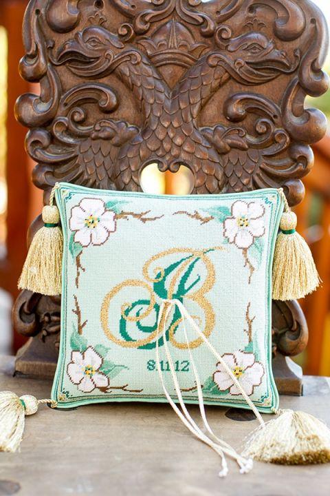 Monogrammed Wedding Ring Pillow