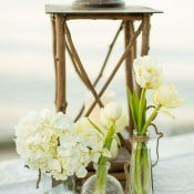Simple White Flowers in Bud Vases | MIke Larson Photography | Chic Lake Tahoe Wedding on the Beach