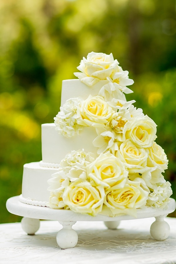 Tiered Cake Adorned with White Flowers | MIke Larson Photography ...