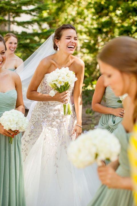 Bridesmaids in Mint Chiffon Dresses