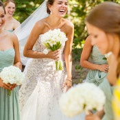 Bridesmaids in Mint J Crew Dresses | MIke Larson Photography | Chic Lake Tahoe Wedding on the Beach