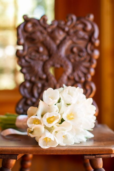 White Tulip Bouquet for a Spring Wedding