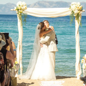 Elegant Neutral Lakefront Ceremony | MIke Larson Photography | Chic Lake Tahoe Wedding on the Beach