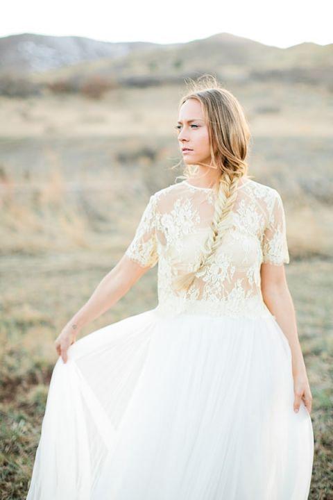 Lace Crop Top and Bandeau Wedding Dress   Callie Hobbs Photography   Bohemian Desert Wedding Shoot in Colorado