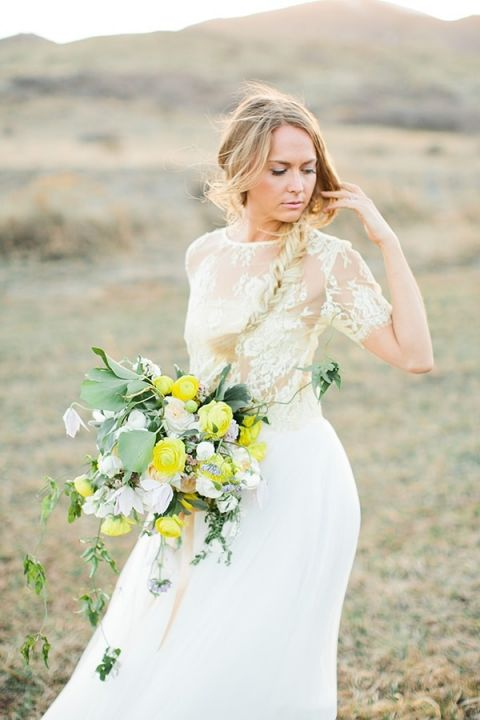 Loose Side Braid and a Yellow Bouquet   Callie Hobbs Photography   Bohemian Desert Wedding Shoot in Colorado