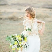 Lace Crop Top Wedding Dress with a Flowing Skirt | Callie Hobbs Photography | Bohemian Desert Wedding Shoot in Colorado