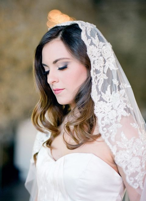Floral Lace Veil | Samantha Kirk Photography | Blue, Burgundy, and Bronze Spring Wedding
