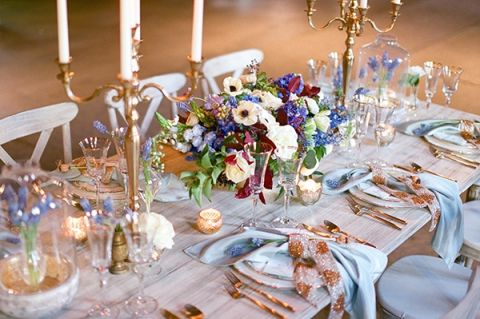 Blue Burgundy And Bronze Spring Wedding Styling Hey