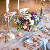 Pastel and Metallic Farm Table Decor | Samantha Kirk Photography | Blue, Burgundy, and Bronze Spring Wedding
