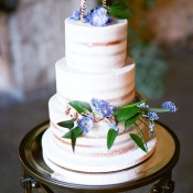 Rustic Wedding Cake with Blue Flowers | Samantha Kirk Photography | Blue, Burgundy, and Bronze Spring Wedding