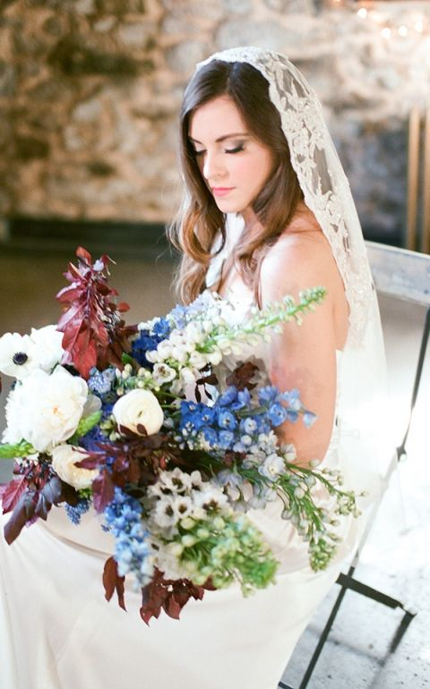 Foxglove, Delphinium, and Foliage Bouquet | Samantha Kirk Photography | Blue, Burgundy, and Bronze Spring Wedding